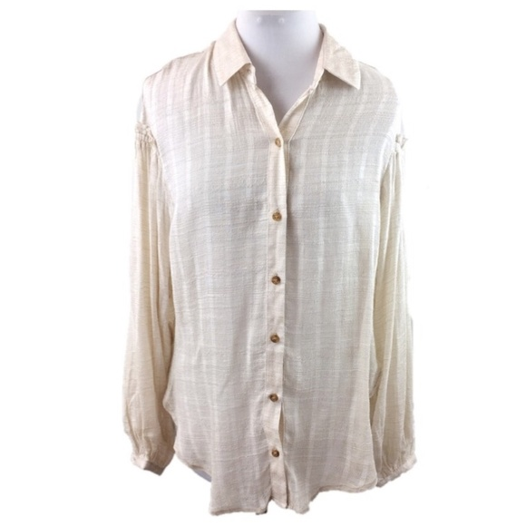 1c27d707 Free People Tops - Free People Sz S light tan gauze button down tunic